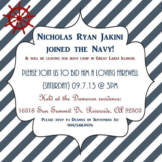 US Navy send off party invite Budget friendly DIY – Military Party Invitations