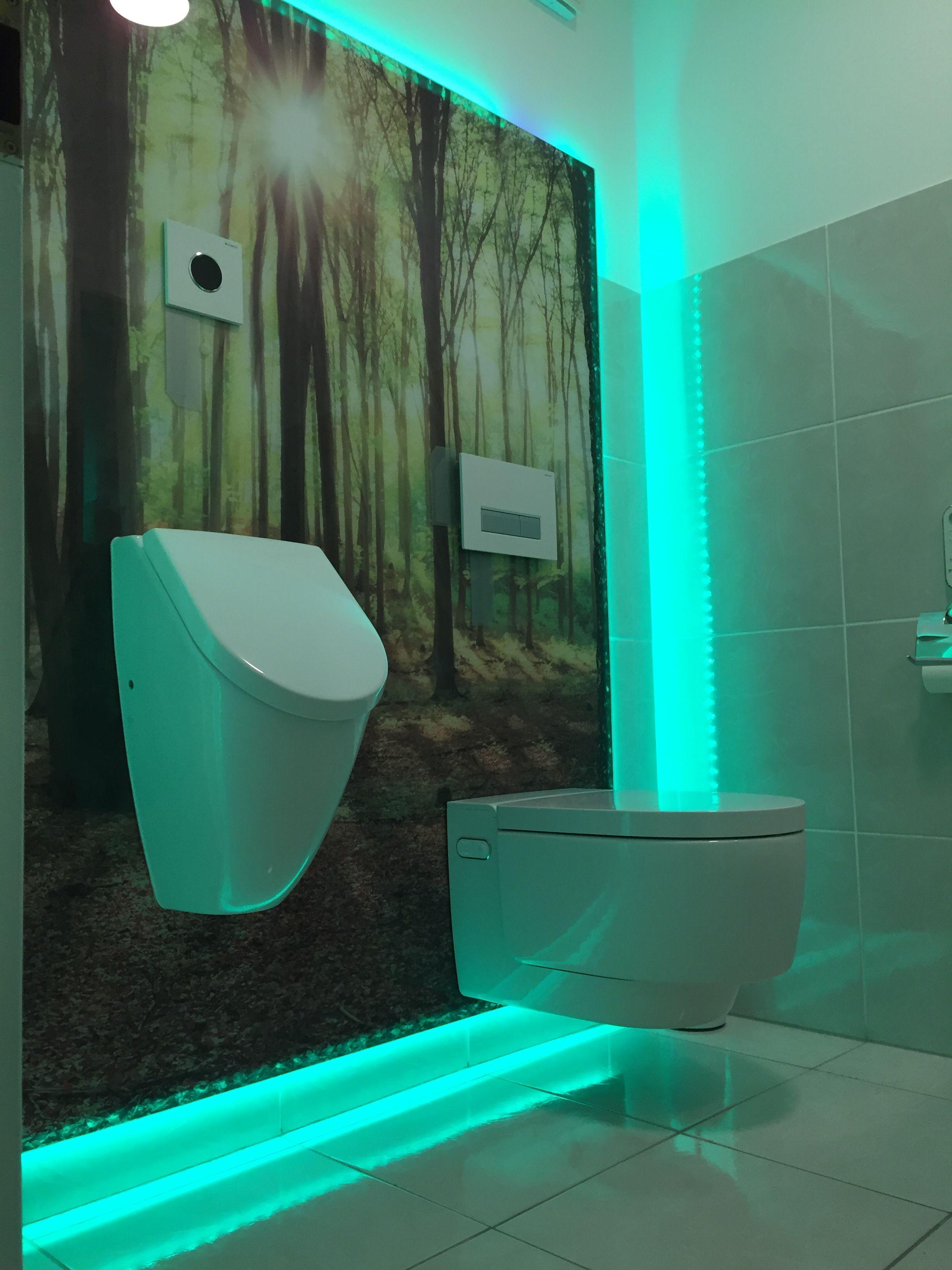 Gäste WC mit Urinal und Geberit mera DuschWC auf Glaswand