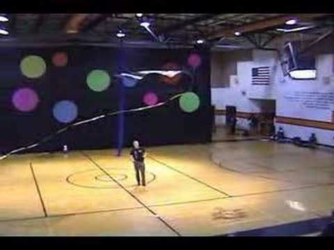 Scott Weider, flying indoor Revolution kite