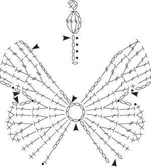 Коллекция схем, для вязания крючком, с бабочками (с ...