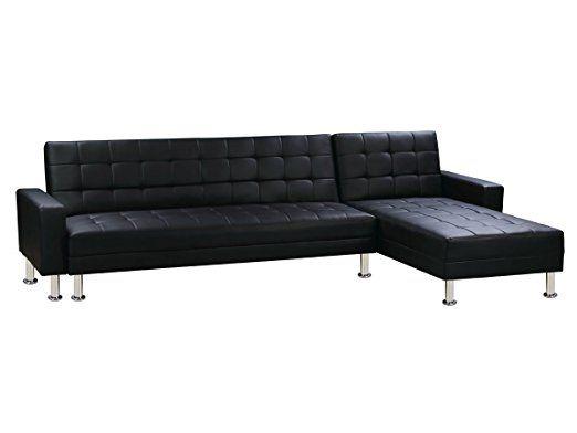 Deco Confort Canape D Angle Convertible Theo Noir 5 Places