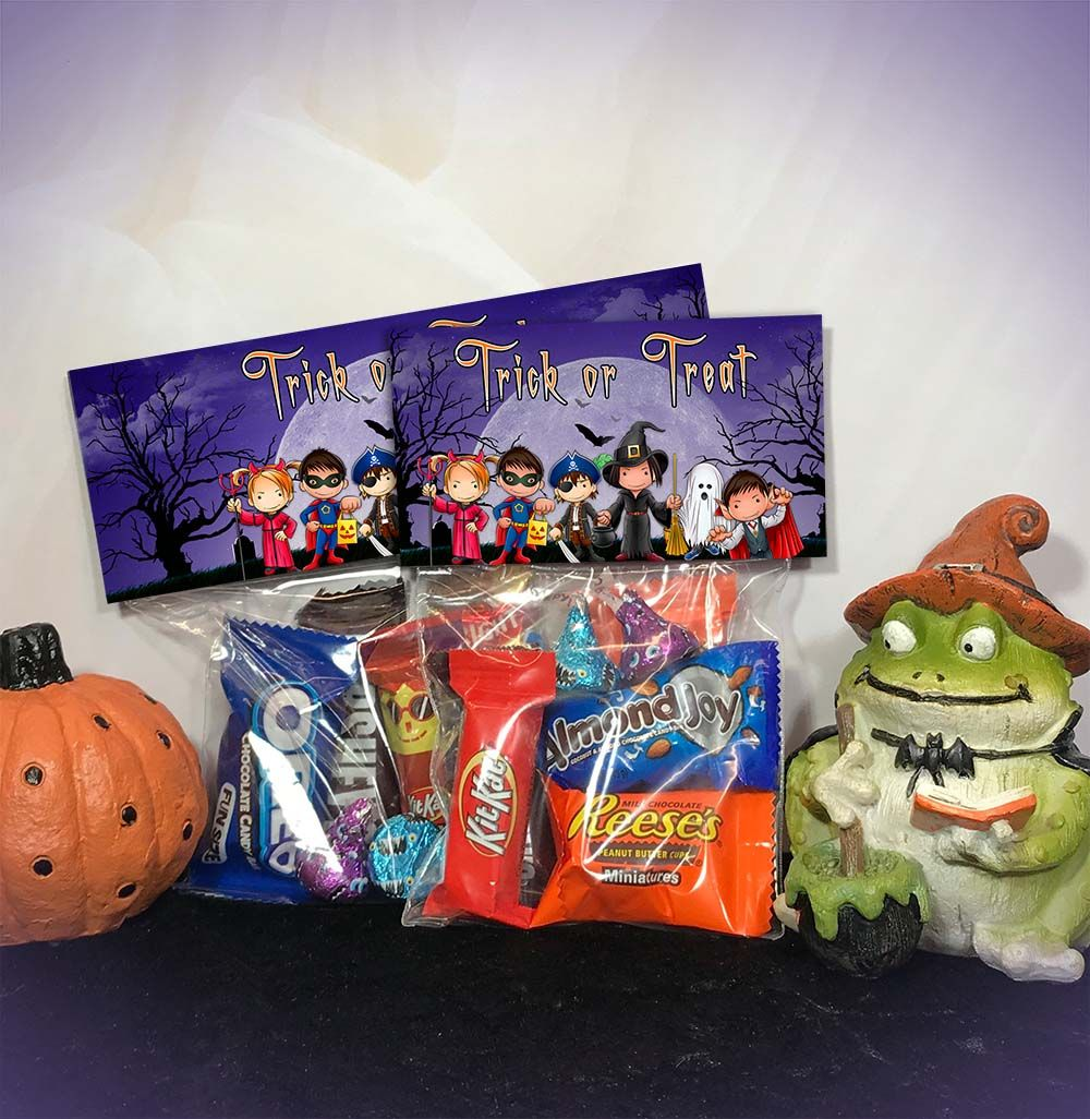 Pumpkin Happy Halloween Bag Toppers for Trick or Treating Halloween Party Favor Bags Halloween Candy and Treat Bag Toppers
