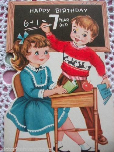 Vintage Greeting Card Happy Birthday 7 Year Old Boy Girl School Desk