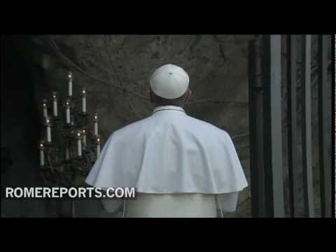 http://www.romereports.com/palio/el-papa-francisco-acude-para-rezar-ante-la-imagen-de-la-virgen-de-lourdes-del-vaticano-spanish-9446.html#.UUbWpBwz0VU El Papa Francisco acude para rezar ante la imagen de la Virgen de Lourdes del Vaticano