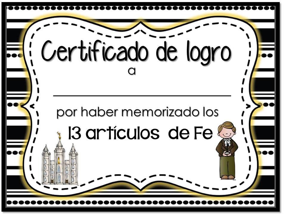 Certificado Artículos de fe LDS articles of faith certificate ...