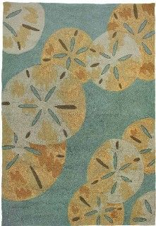 Beach Rug Sanddollars By The Sea Decor Nautical Tropical Coastal