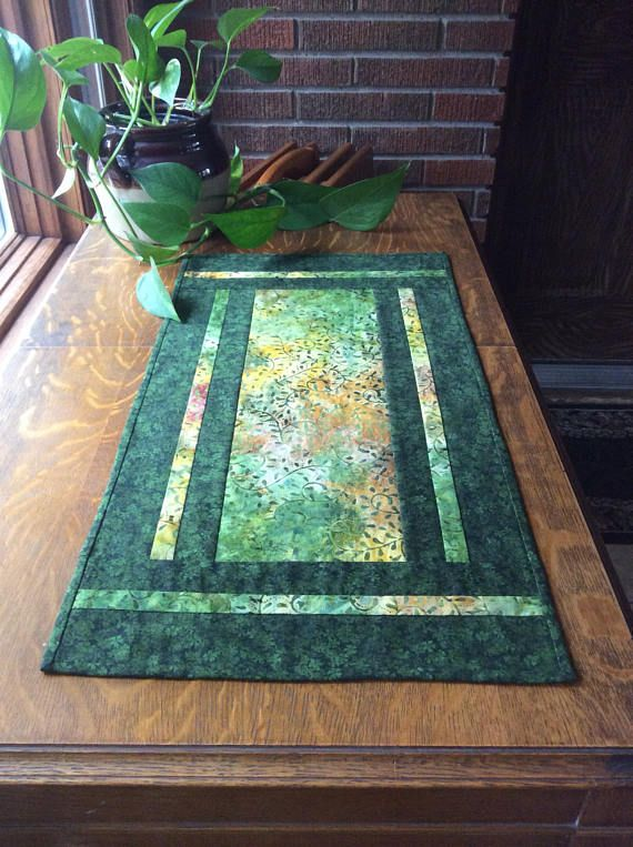 Green Table Runner Batik Table Runner Batik Table Mat Quilted