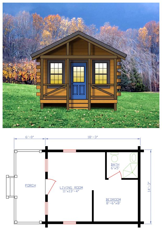 One Story Style House Plan 74110 With 1 Bed 1 Bath House Plans One Bedroom House Log Home Plans