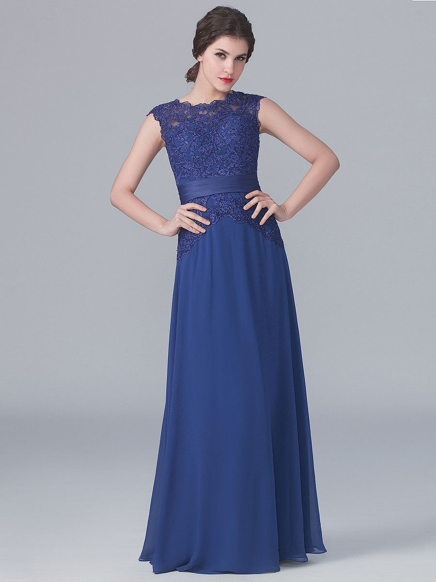 Lace and chiffon dress color twilight blue sizes available w