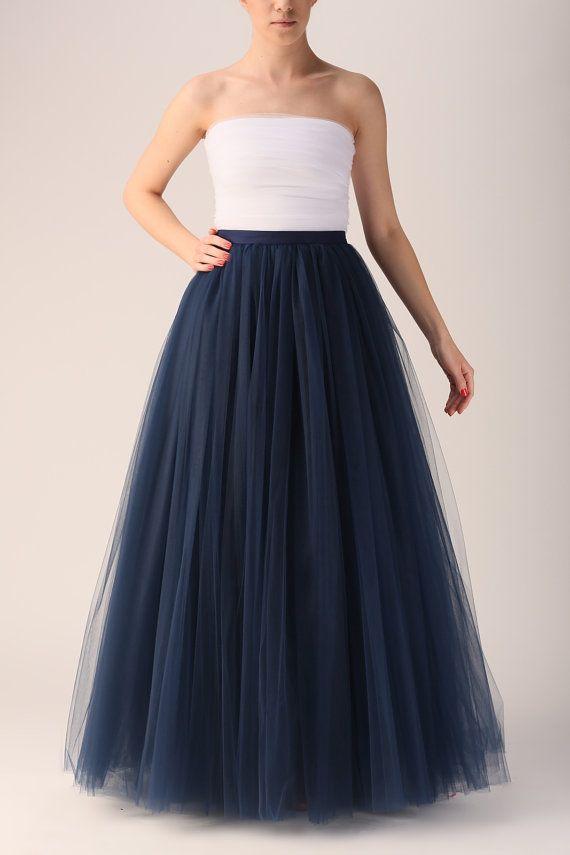 8c097f66901 Dark blue tutu skirt, Handmade maxi skirt, Handmade tutu skirt, High ...