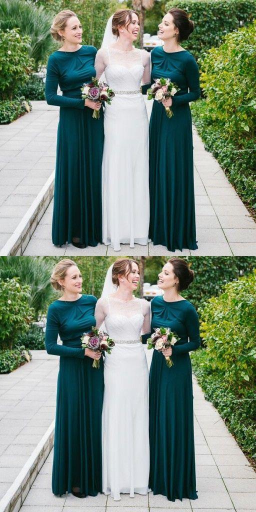 Türkis Lang Ärmel Brautjungfernkleider Günstig Kleider Für ...