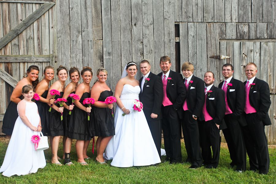 Black Pink Wedding Party Bridesmaids Groomsmen In 2018