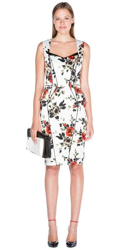c5768a6ffb05 CUE - Clustered Rose Satin Dress
