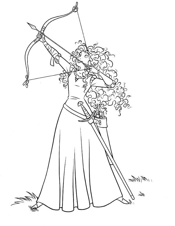 Beautiful Brave, Merida Ready To Release An Arrow In Disney Brave Coloring Page:  Meridau2026