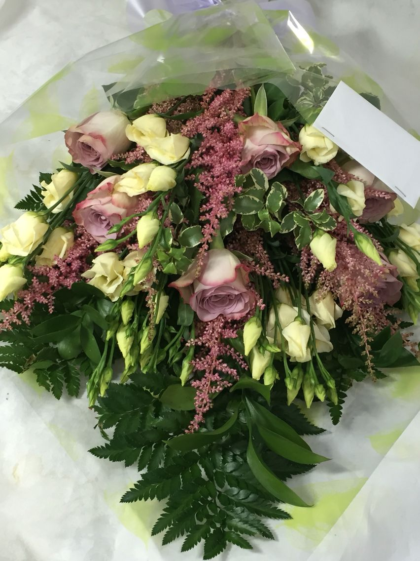 Cone Wrap Bouquet Of Roses And Lisianthus My Floral Designs