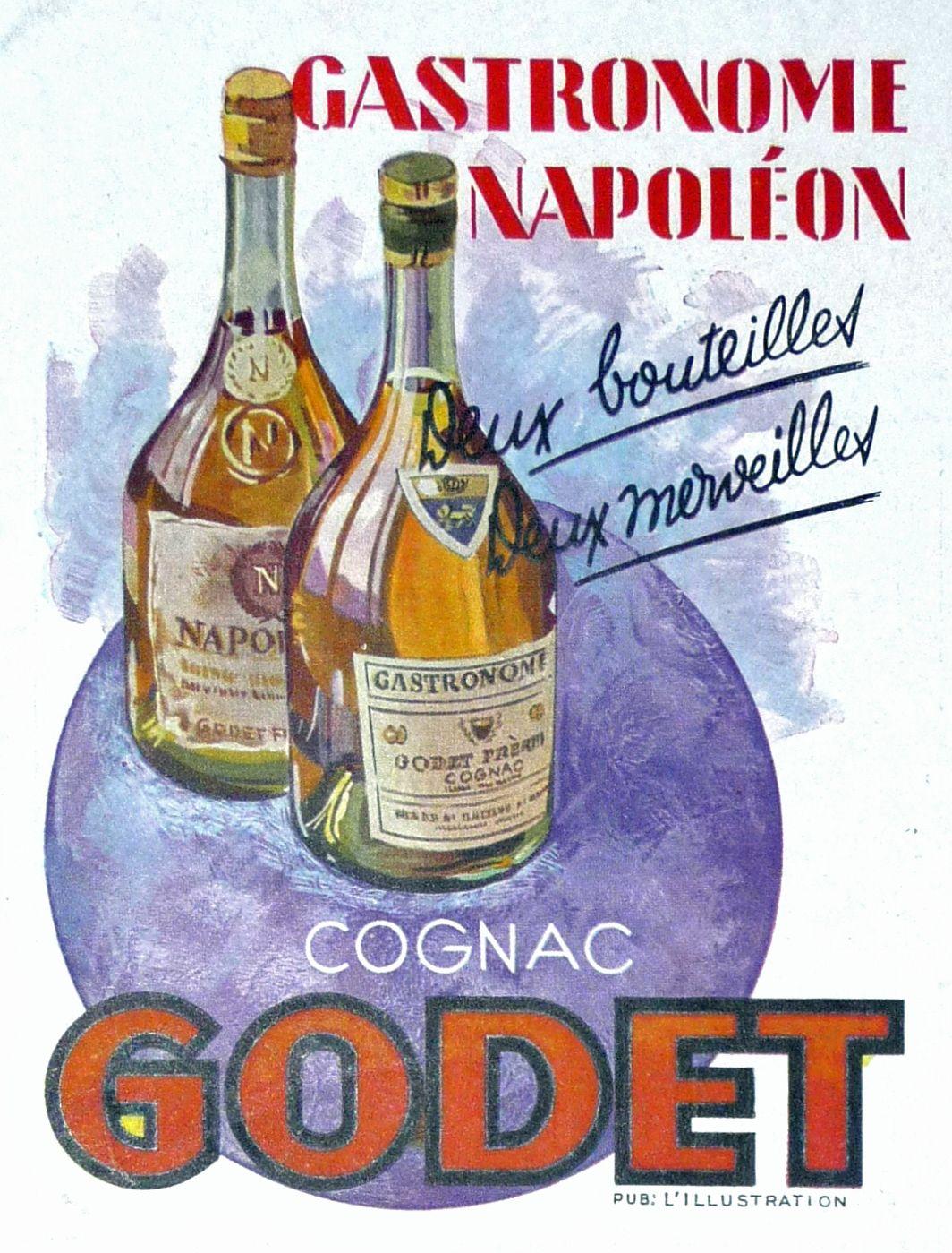 Vintage , old ads , France 1943 , anciennes publicités, Cognac Godet