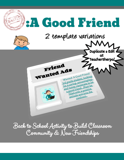 Wanted A Good Friend Elementary Writing Back To School Activities Wanted Ads