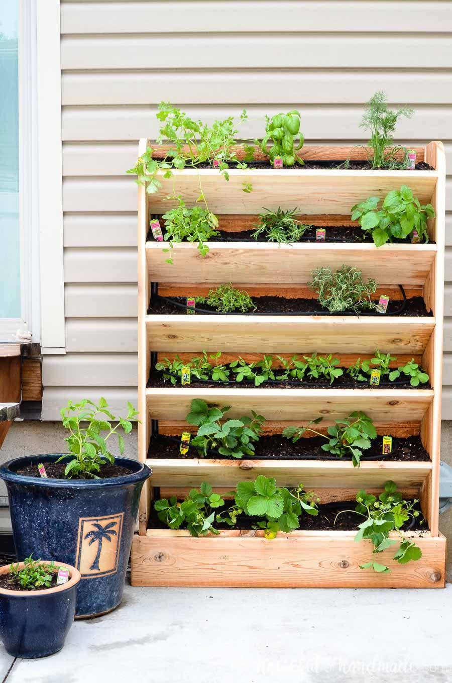 Diy Vertical Garden With Drip Watering System Vertical Garden Diy Vertical Herb Garden Vertical Vegetable Garden