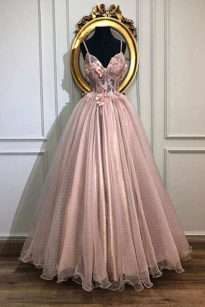 Pink Spaghetti Straps Tulle Appliques Long Prom Dress A Line Formal Pa – Okdresses