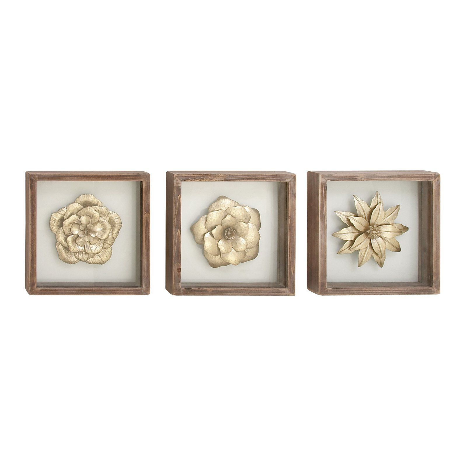 Decmode 10 In Square Framed Metal And Wood Floral Wall Art Set Of 3 Framed Wall Art Sets Metal Flower Wall Art Wood Wall Plaques