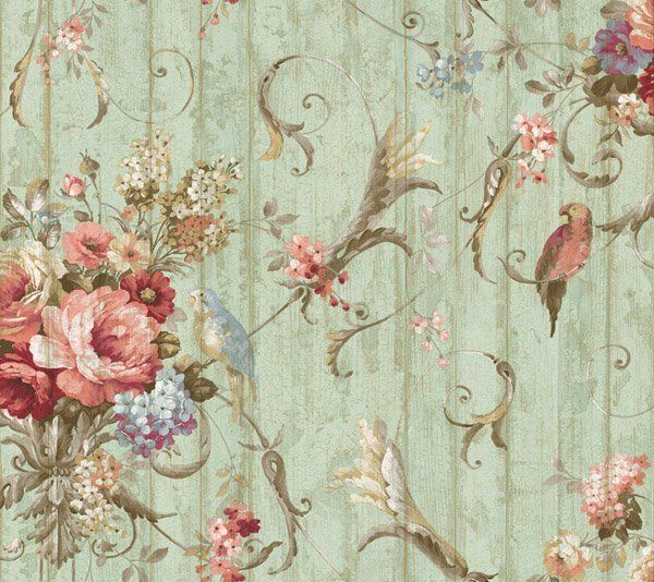 Bird rose french cottage wallpaper ha1326 double roll for Victorian wallpaper