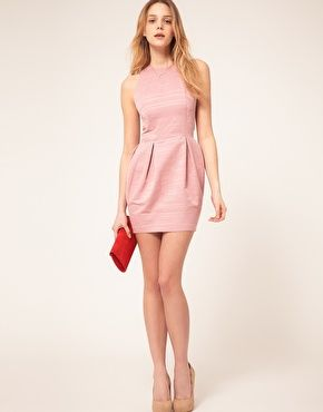 Tulip Mini Dress with Cut Out in Texture - Dusty pink Asos V1w42dC3vy