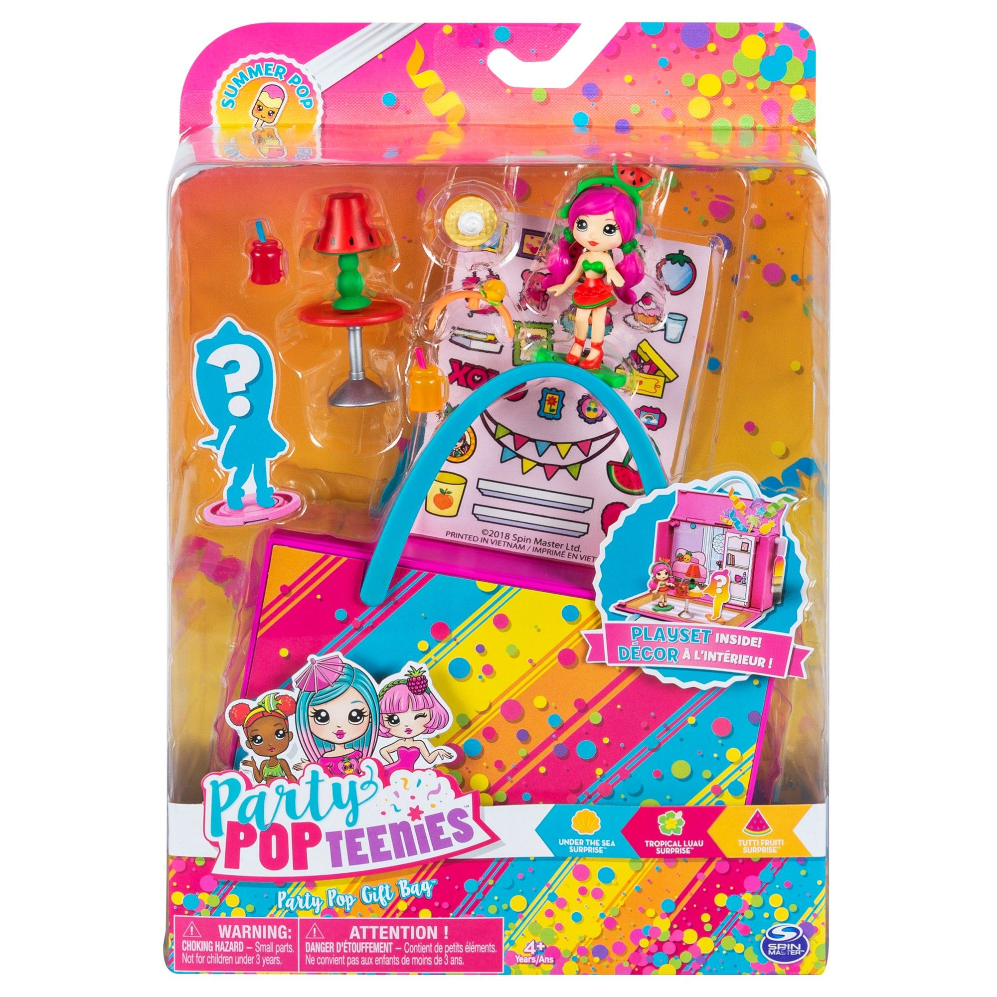 Lot of 3 Party PopTeenies with Confetti /& Mini doll