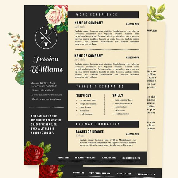 Hipster Resume Cv Template Pkg By Jannalynncreative On Creative