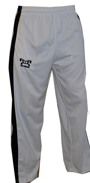 MyHOUSE logo on feet Thigh area and right calf muscle embroidery.These pants are great for karate and all types of kicking and squatting motions. MyHOUSE Sports is the largest seller of Custom #Wrestling and Sports Wear.