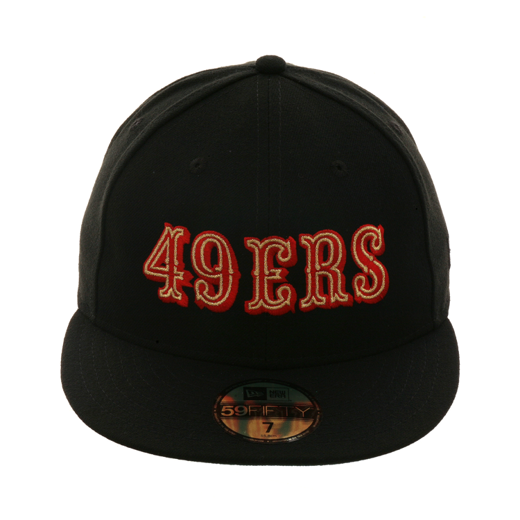 pretty nice 1a2b4 89e6c Exclusive New Era 59Fifty San Francisco 49ers 1972 Logo Hat - Black, Red,  Metallic Gold,  39.99