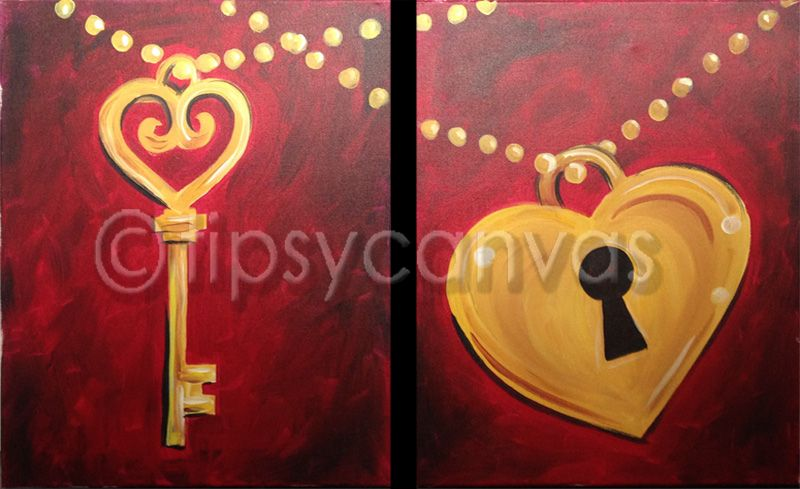 Couples heart and key canvas paintings pinterest for Canvas painting classes