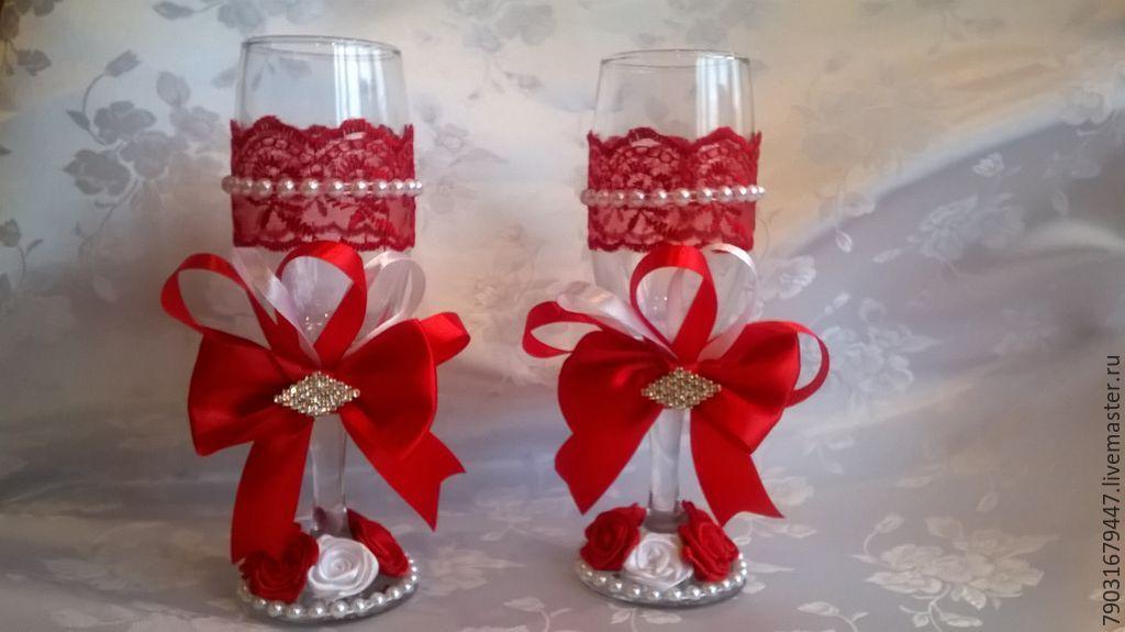"""Купить Свадебные бокалы """"Танго"""" - ярко-красный, свадебные бокалы купить, свадебные бокалы"""