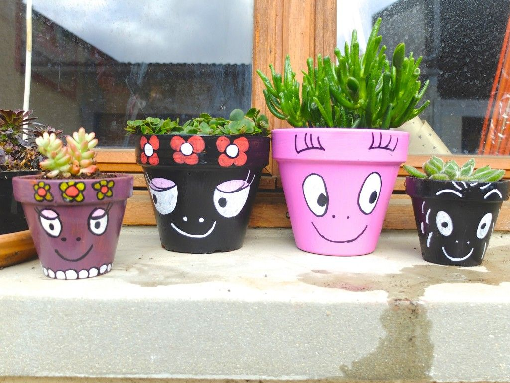 mes pots de fleurs barbapapa pots flower pot crafts flower pot people y clay pot crafts. Black Bedroom Furniture Sets. Home Design Ideas