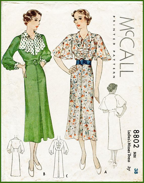 1930s 30s day dress vintage sewing pattern flutter sleeves ruffle ...
