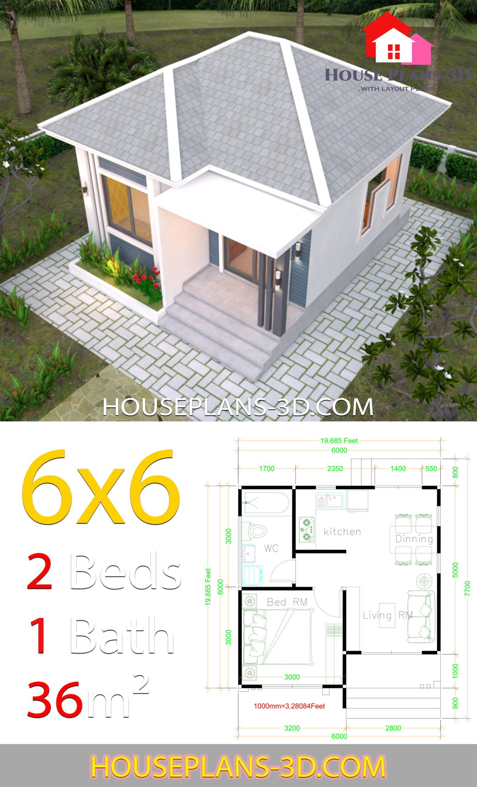 House Plans 6x6 With One Bedrooms Hip Roof In 2020 House Construction Plan Model House Plan Architectural House Plans