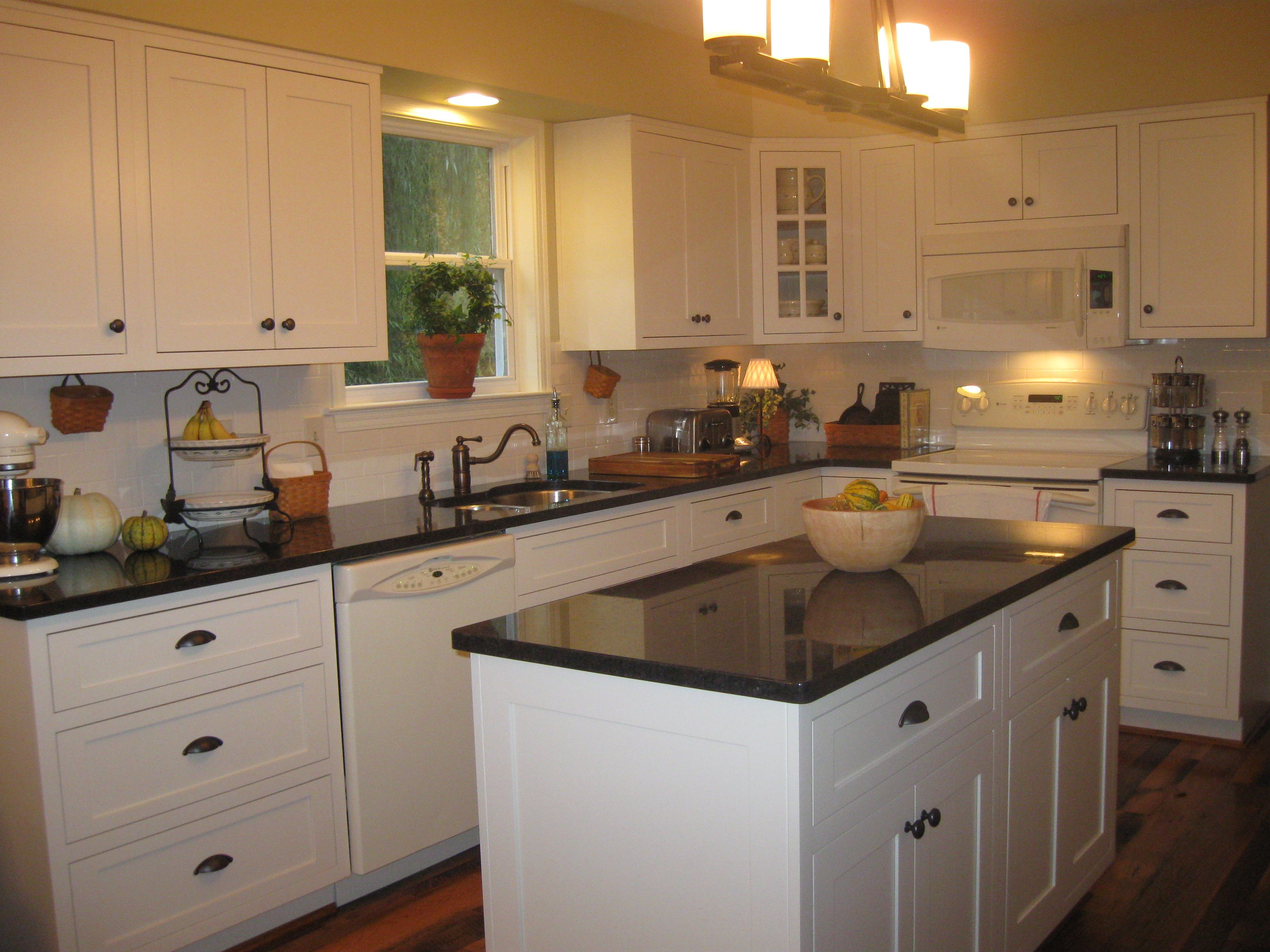 Shiloh Cabinets With Inset Doors In Soft White Coffee Brown Granite Countertops