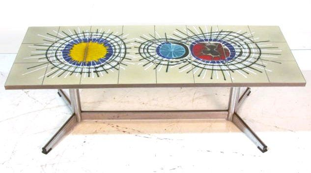 Modern Chrome Tile Top Coffee Table Lot 3 Table Basse Table