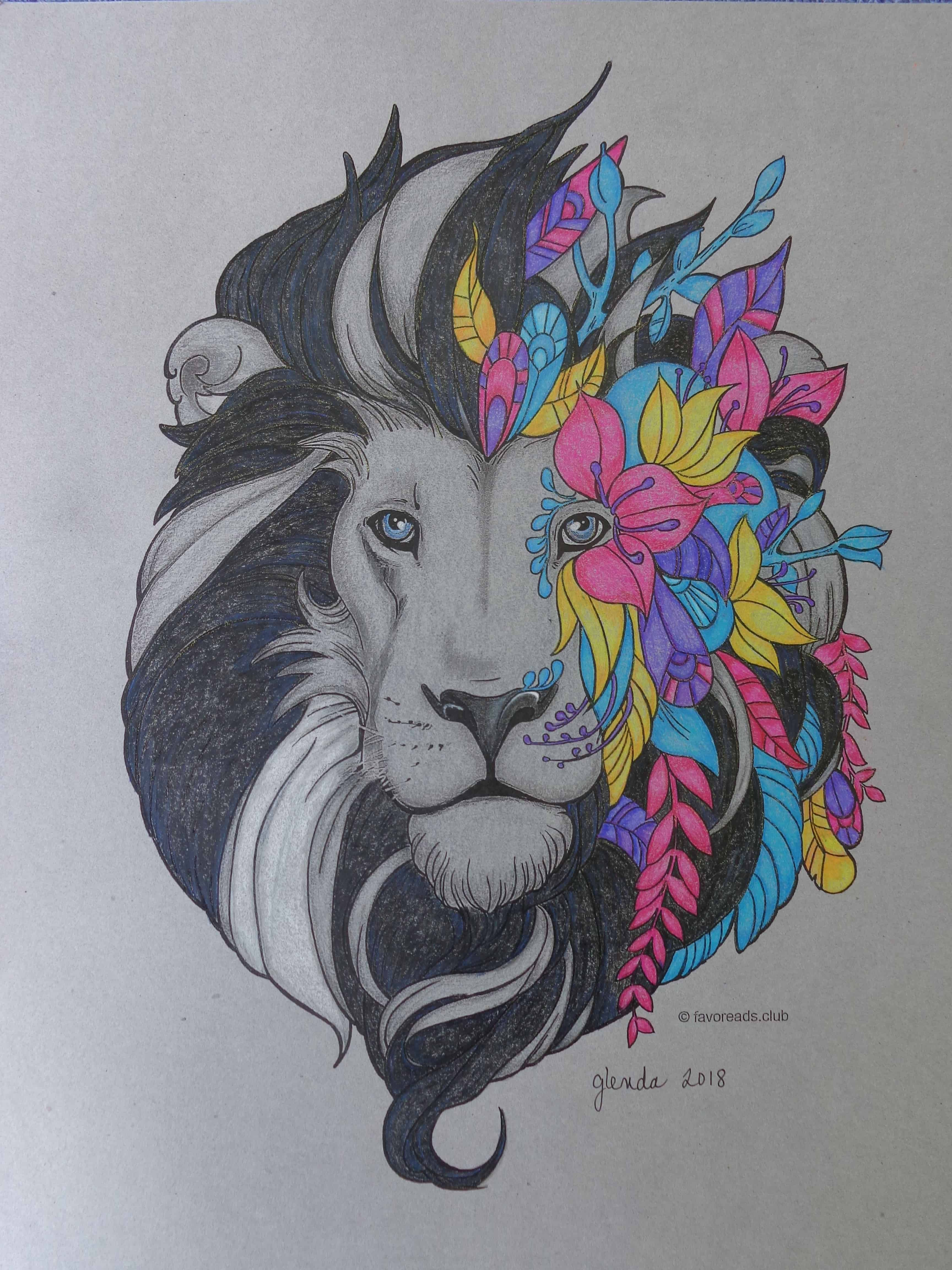 Fantasy Lion Favoreads Coloring Submissions Lion Coloring Pages