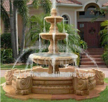 Outdoor Water Fountains | ... Carved Garden/Outdoor Decoration 3 Tiers  Marble Stone Water Fountain - Outdoor Water Fountains Carved Garden/Outdoor Decoration 3