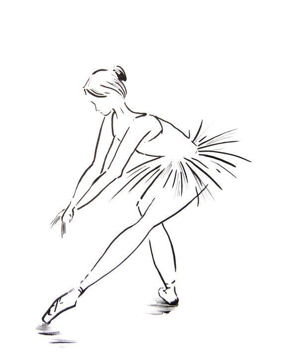 Ink Drawing Art Print of Ballerina Minimalist by