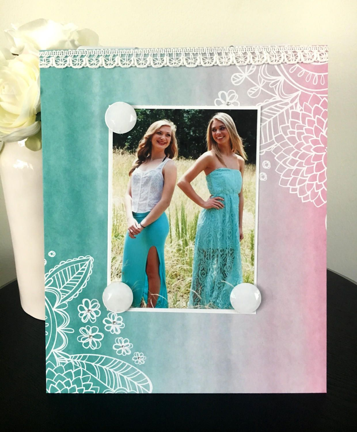 Boho Girl Turquoise V1 Magnetic Picture Frame Handmade Gift Present Home Decor By Frame A Memory Size 9 X 11 Holds 5 X 7 Photo Mint Pink With Images Magnetic Picture Frames Frame Picture Frames
