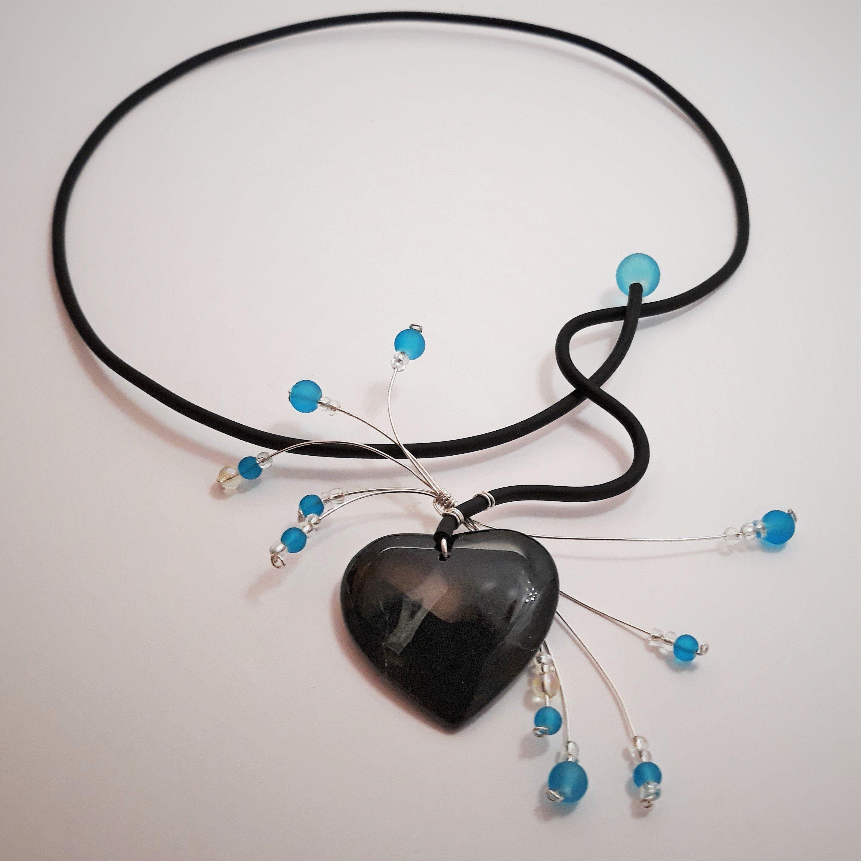 Blue necklace Contemporary jewelry set Polymer clay necklace contemporary statement necklace /& earrings set choker necklace