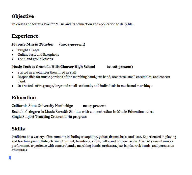 music teacher resume examples objective to create and