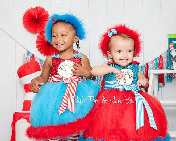 Thing 1 and Thing 2 Tutu dress Thing 1 and Thing by GlitterMeBaby - sisters halloween costume ideas