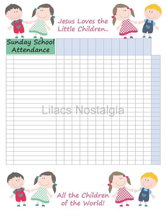 Image result for sunday school attendance chart free printable - attendance sheet for students
