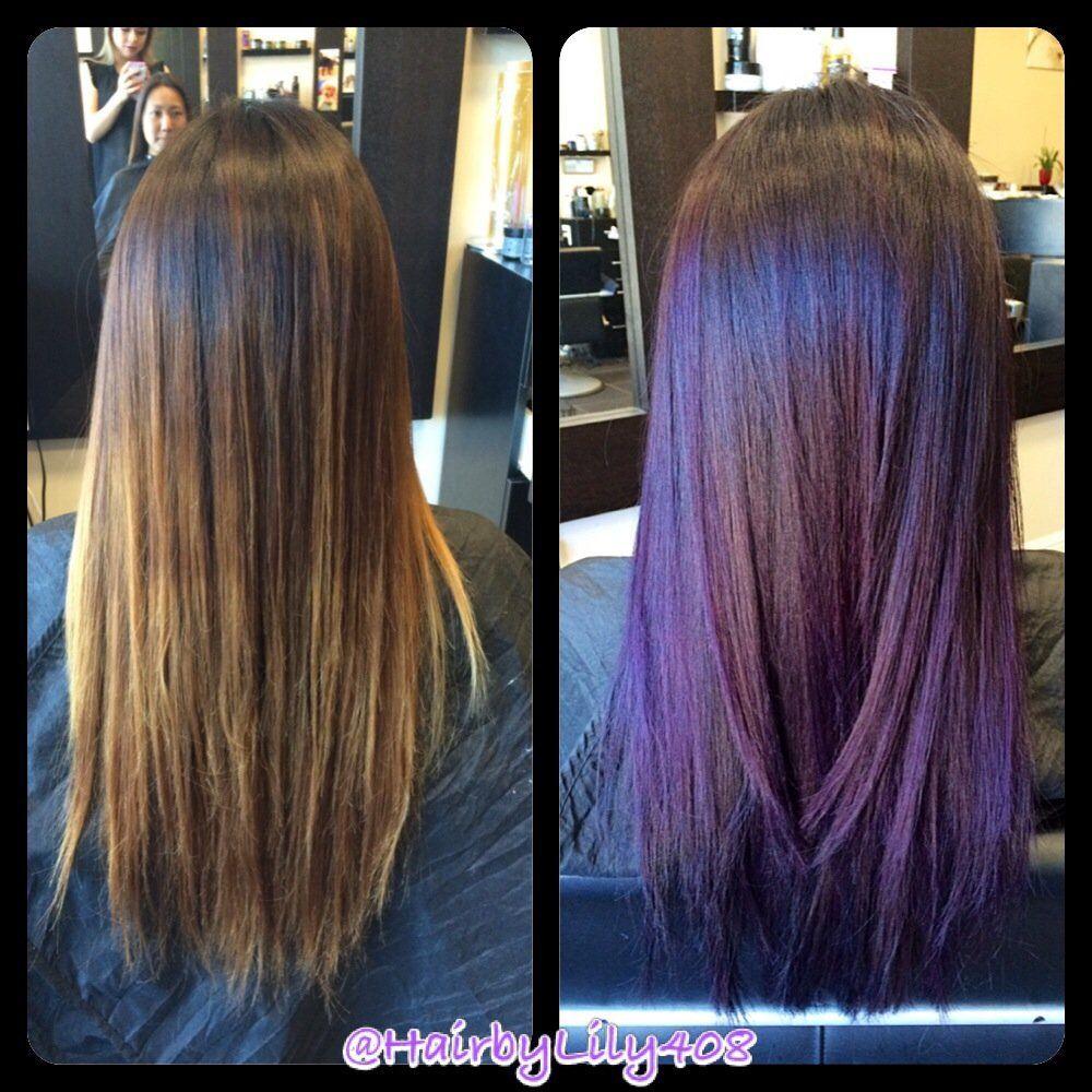 64990ba835 Balayage purple plum. No direct dyes used. Haircolor only, not pravana! |  Yelp