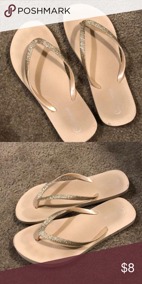 Gold flip flops Gold sparkly glitter