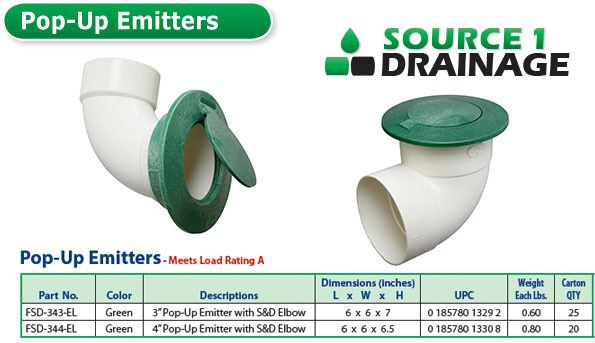 Stormdrain Fsd 344 El 4 Inch Pop Up Emitter Clog Free The Emitter Allows Water Captured By Grates Catch Basins Channe Downspout Drainage Downspout Drainage