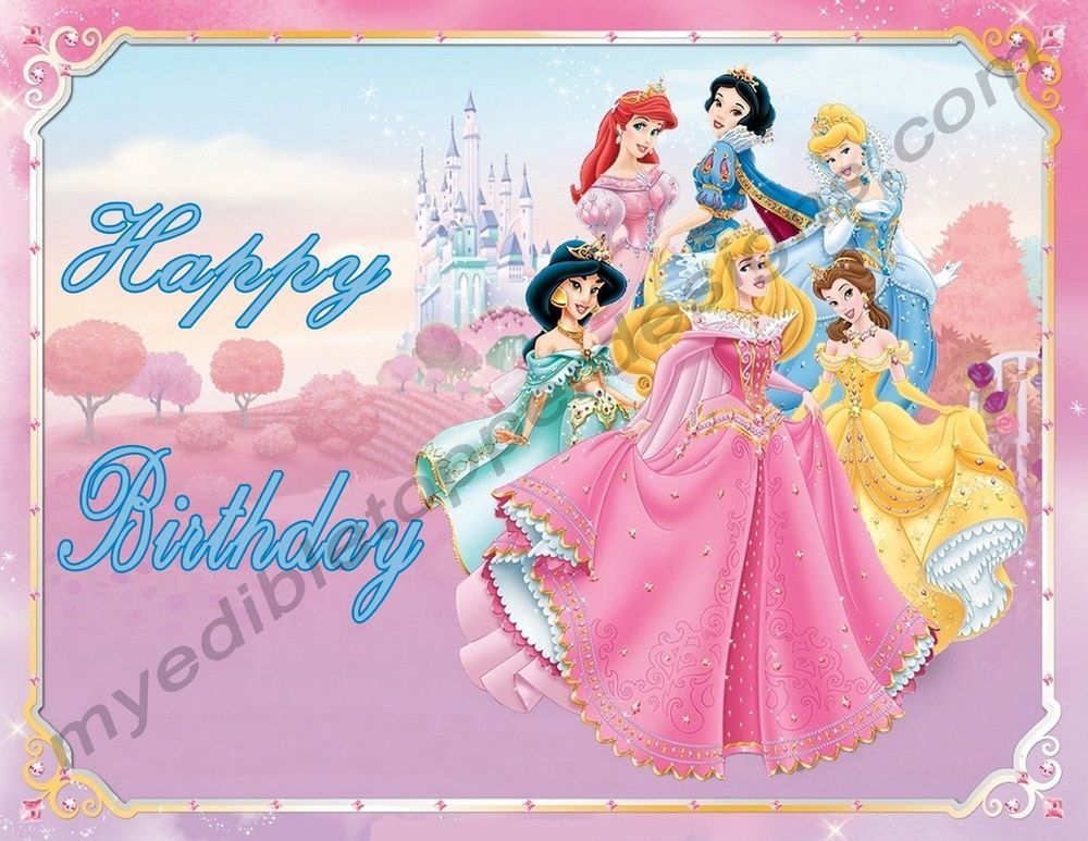 Disney princesses personalized edible print cake topper