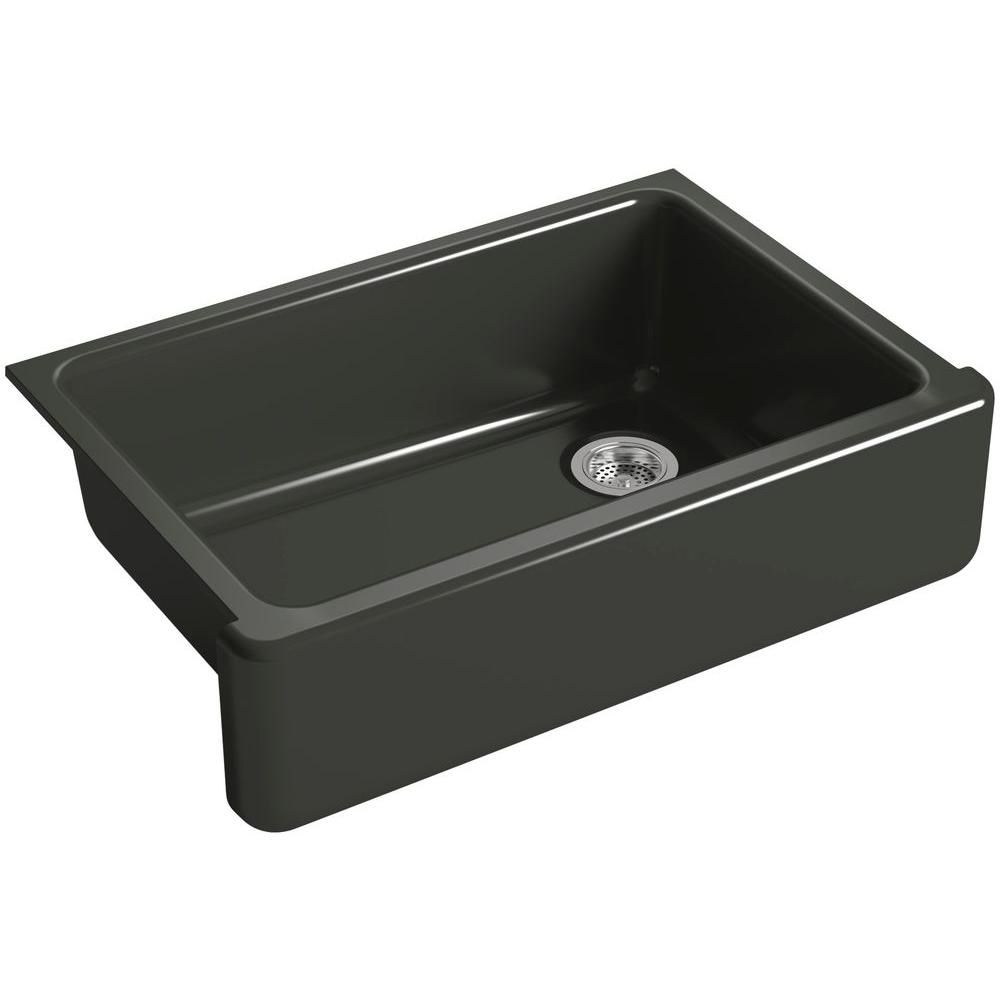 Whitehaven Undermount Farmhouse Apron-Front Cast Iron 33 in. Single Bowl Kitchen Sink in Caviar (Black)